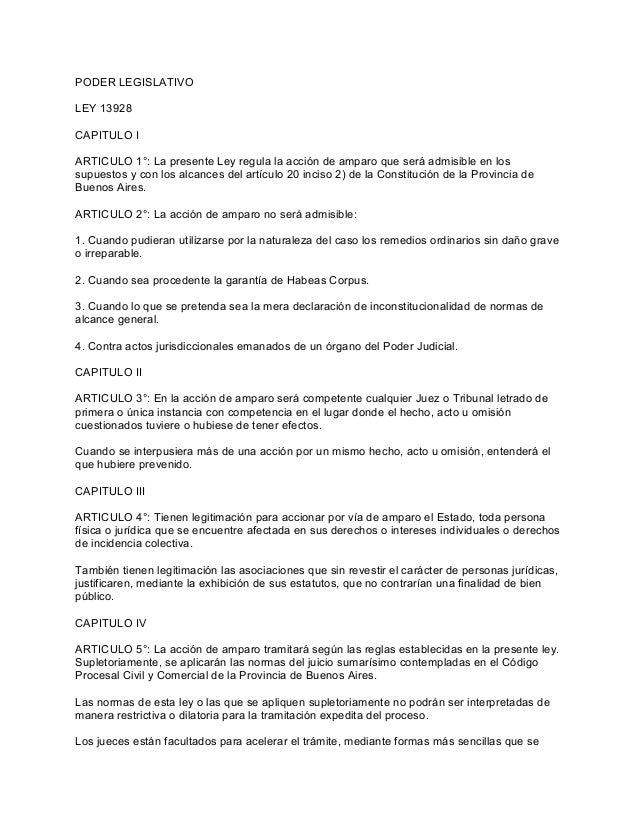 PODER LEGISLATIVO LEY 13928 CAPITULO I ARTICULO 1°: La presente Ley regula la acción de amparo que será admisible en los s...