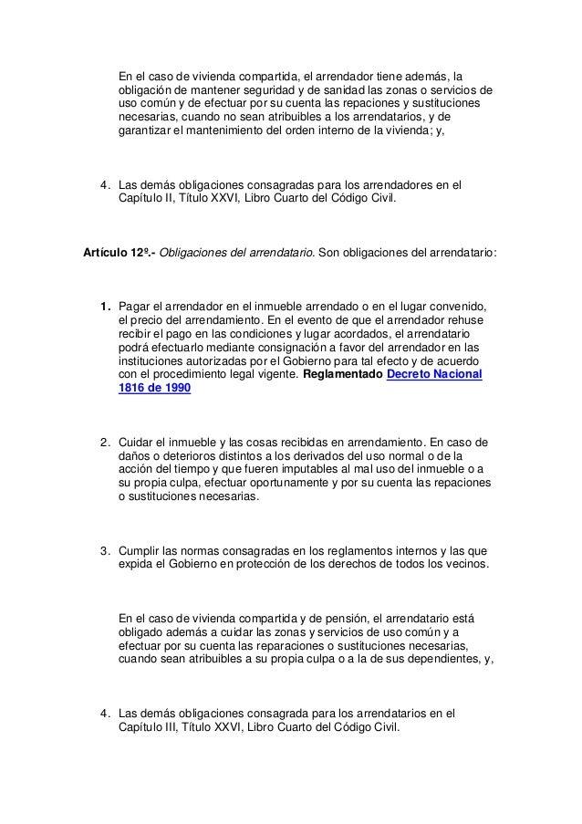 Nueva ley de arrendamiento for Libro cuarto del codigo civil