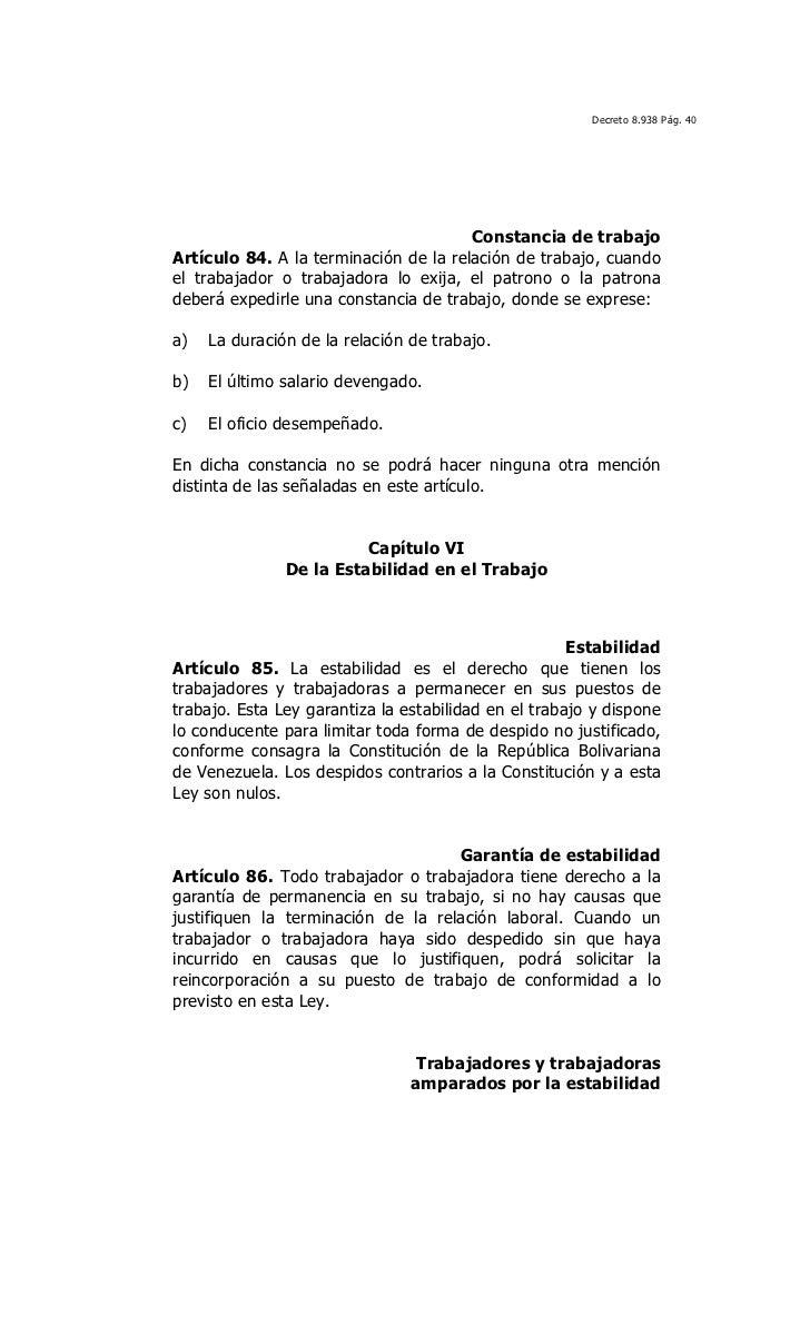 Ley Org Nica Del Trabajo Los Trabajadores Y Las