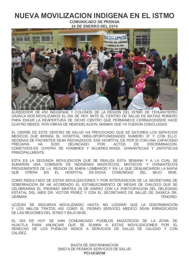 NUEVA MOVILIZACION INDIGENA EN EL ISTMO COMUNICADO DE PRENSA 24 DE ENERRO DEL 2014  ALREDEDOR DE 450 INDIGENAS Y COLONOS D...
