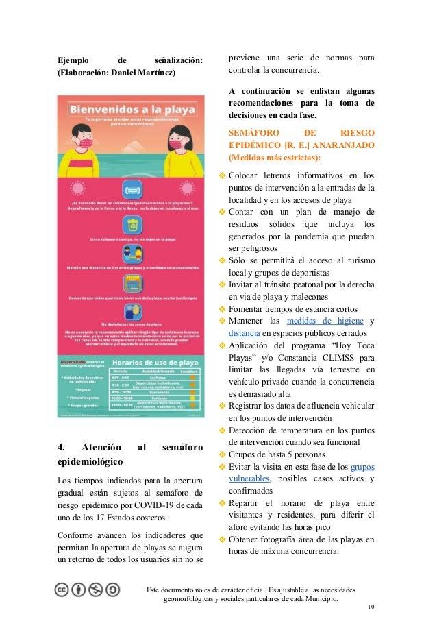 Ejemplo de señalización: (Elaboración: Daniel Martínez) 4. Atención al semáforo epidemiológico Los tiempos indicados para ...
