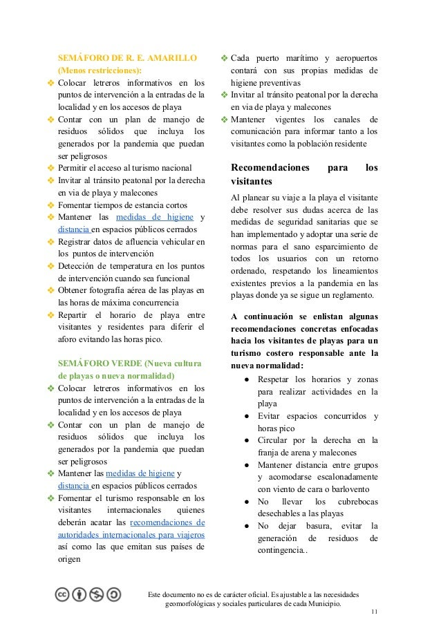 SEMÁFORO DE R. E. AMARILLO (Menos restricciones): ❖ Colocar letreros informativos en los puntos de intervención a la entra...