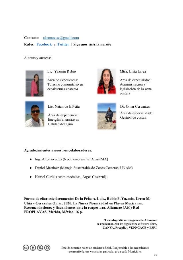 Contacto: altamare.sc@gmail.com Redes: Facebook  y Twitter  | Síguenos @AltamareSc Autoras y autores: Lic. Yazmin Ru...