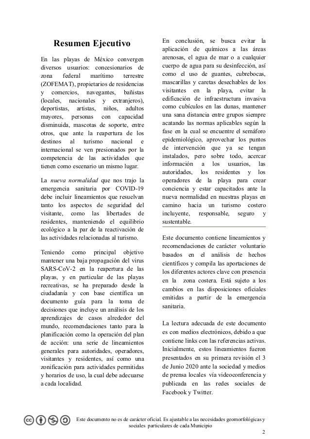 Resumen Ejecutivo En las playas de México convergen diversos usuarios: concesionarios de zona federal marítimo terrestre (...