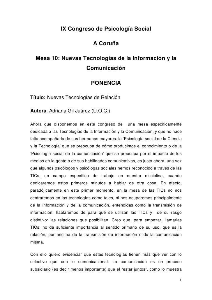 IX Congreso de Psicología Social                                  A Coruña    Mesa 10: Nuevas Tecnologías de la Informació...