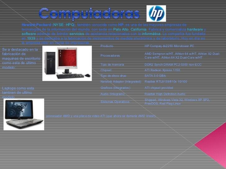 Hewlett-Packard  ( NYSE :  HPQ ), también conocida como  HP , es una de las mayores empresas de tecnologías de la informac...