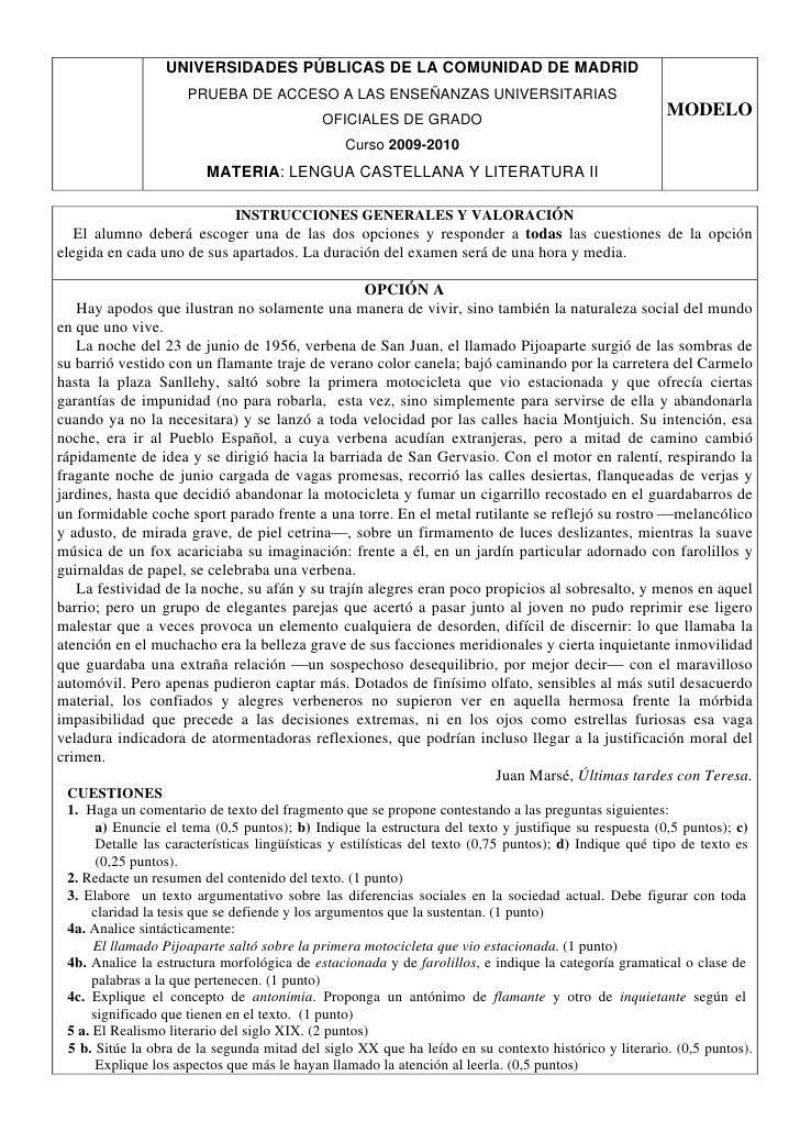 UNIVERSIDADES PÚBLICAS DE LA COMUNIDAD DE MADRID                      PRUEBA DE ACCESO A LAS ENSEÑANZAS UNIVERSITARIAS    ...