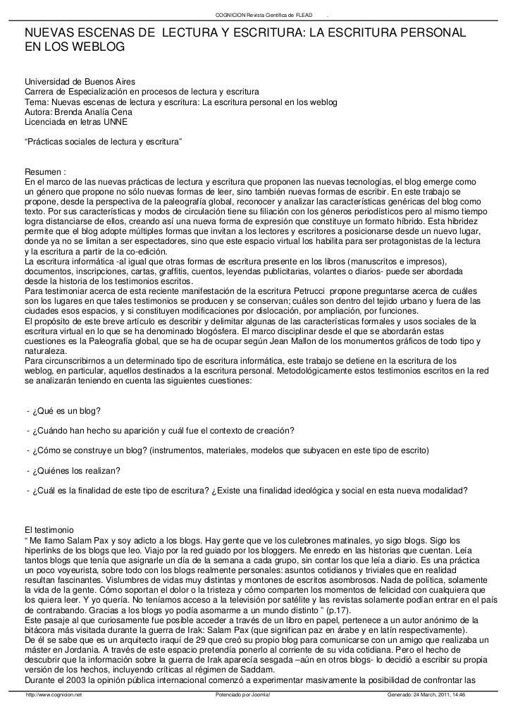 COGNICION Revista Científica de FLEAD   .NUEVAS ESCENAS DE LECTURA Y ESCRITURA: LA ESCRITURA PERSONALEN LOS WEBLOGUniversi...