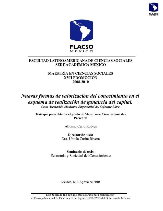 FACULTAD LATINOAMERICANA DE CIENCIAS SOCIALES SEDE ACADÉMICA MÉXICO MAESTRÍA EN CIENCIAS SOCIALES XVII PROMOCIÓN 2008-2010...