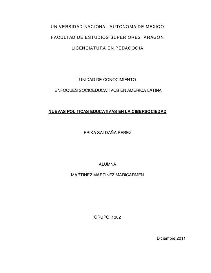 UNIVERSIDAD NACIONAL AUTONOMA DE MEXICO FACULTAD DE ESTUDIOS SUPERIORES ARAGON         LICENCIATURA EN PEDAGOGIA          ...