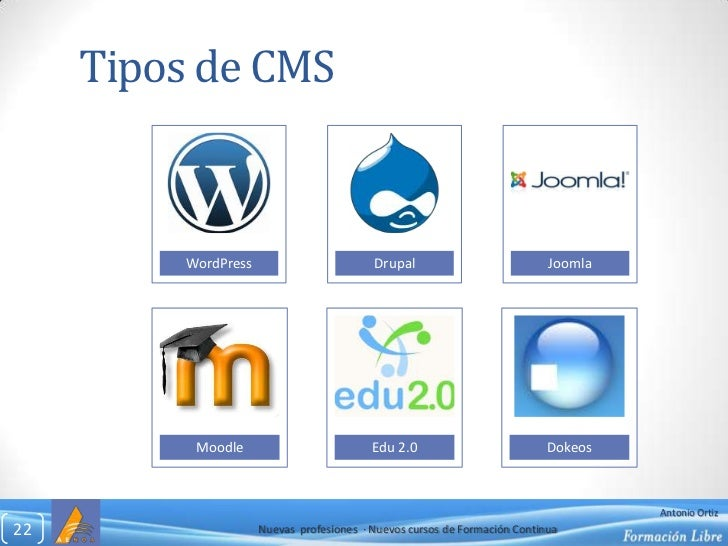 Tipos de CMS<br />Nuevas  profesiones  ∙ Nuevos cursos de Formación Continua<br />22<br />