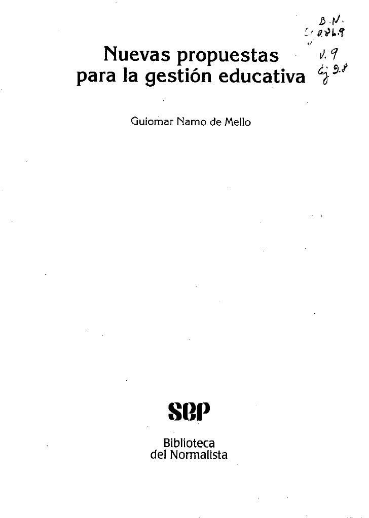 Nuevas propuestas para la educacion
