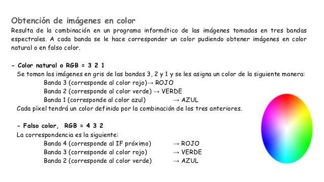Obtención de imágenes en color Resulta de la combinación en un programa informático de las imágenes tomadas en tres bandas...