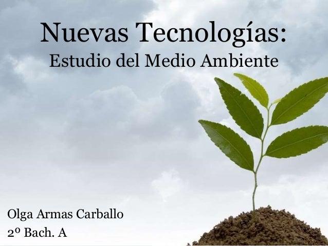 Nuevas Tecnologías: Estudio del Medio Ambiente Olga Armas Carballo 2º Bach. A