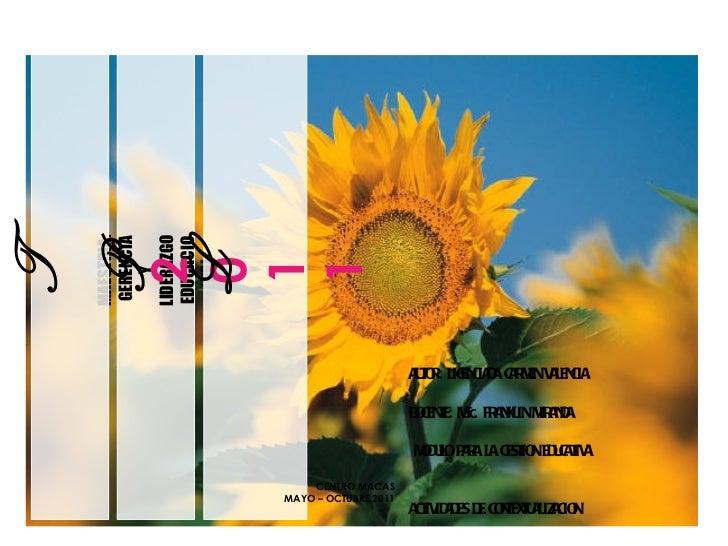 MAESTRIA: GERENCIA Y LIDERAZGO EDUCACIONAL 2 0 1 1 U TPL AUTOR: LICENCIADA CARMEN VALENCIA DOCENTE: MSc. FRANKLIN MIRANDA ...