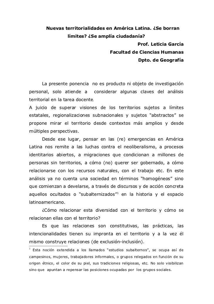 Nuevas territorialidades en América Latina. ¿Se borran                     límites? ¿Se amplía ciudadanía?                ...