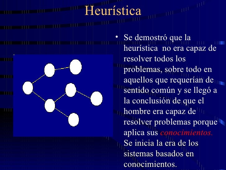 Heurística <ul><li>Se demostró que la heurística  no era capaz de resolver todos los problemas, sobre todo en aquellos que...
