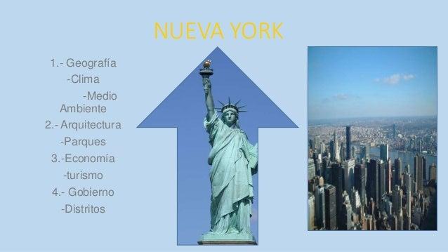 NUEVA YORK  1.- Geografía  -Clima  -Medio  Ambiente  2.- Arquitectura  -Parques  3.-Economía  -turismo  4.- Gobierno  -Dis...