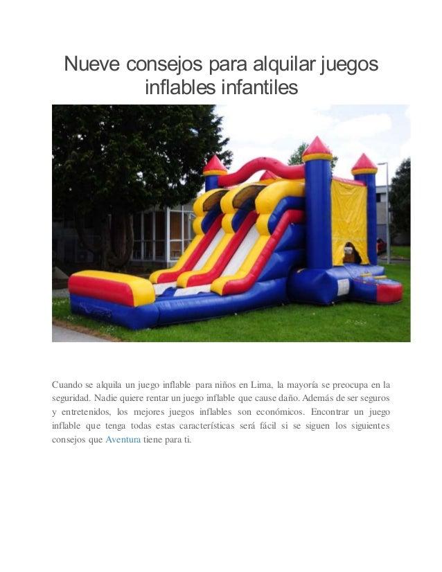 Nueve Consejos Para Alquilar Juegos Inflables Infantiles