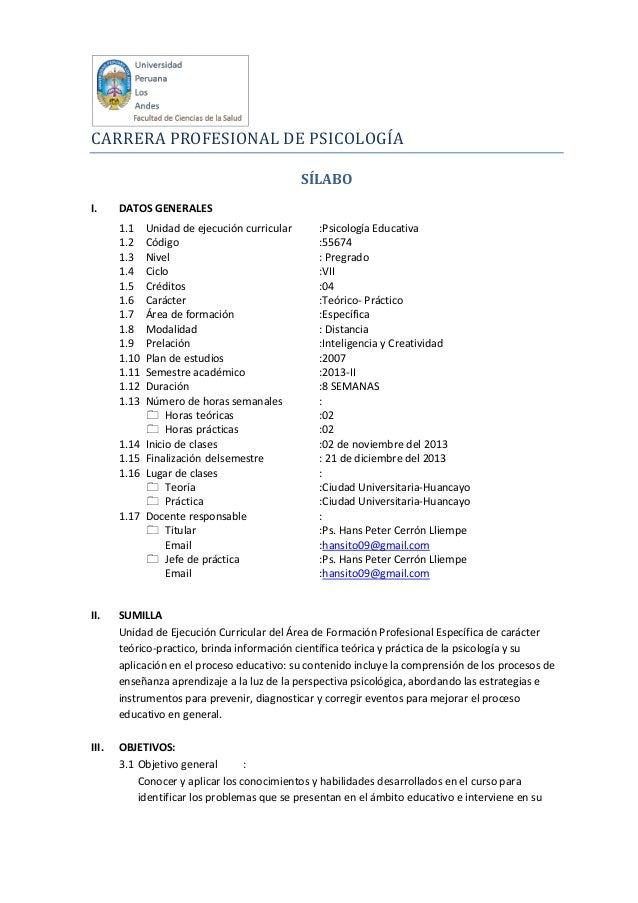 CARRERA PROFESIONAL DE PSICOLOGÍA SÍLABO I.  DATOS GENERALES 1.1 1.2 1.3 1.4 1.5 1.6 1.7 1.8 1.9 1.10 1.11 1.12 1.13  1.14...