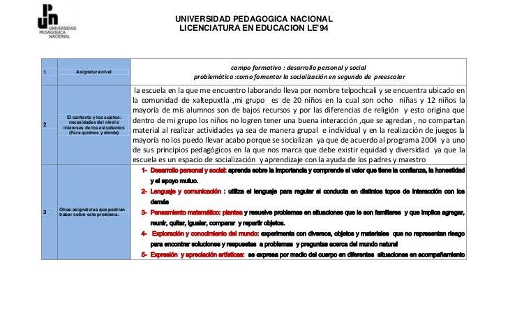 UNIVERSIDAD PEDAGOGICA NACIONAL                                                   LICENCIATURA EN EDUCACION LE'94         ...