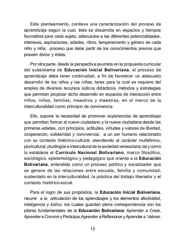 Subsistema de educaci n inicial bolivariana nuevo for Nuevo curriculo de educacion inicial