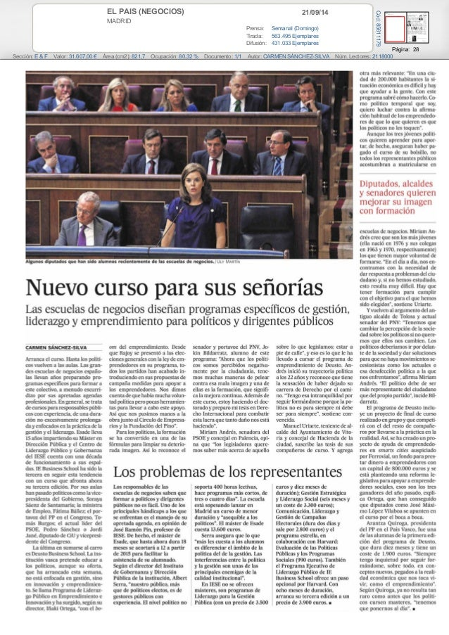 EL PAIS (NEGOCIOS) 21/09/14  MADRID  Prensa: Semanal (Domingo)  Tirada: 563.495 Ejemplares  Difusión: 431.033 Ejemplares  ...