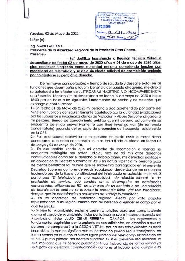 carta de asambleísta ferreira