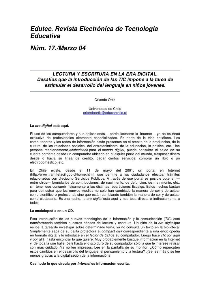Edutec. Revista Electrónica de Tecnología Educativa<br />Núm. 17./Marzo 04<br /><br />LECTURA Y ESCRITURA EN LA ERA DIGIT...