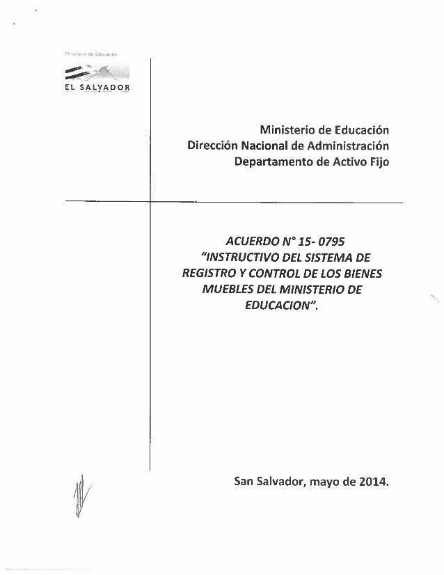 ' fi  [EL SALYADSOB  Ministerio de Educación Dirección Nacional de Administración Departamento de Activo Fijo     ACUERDO ...