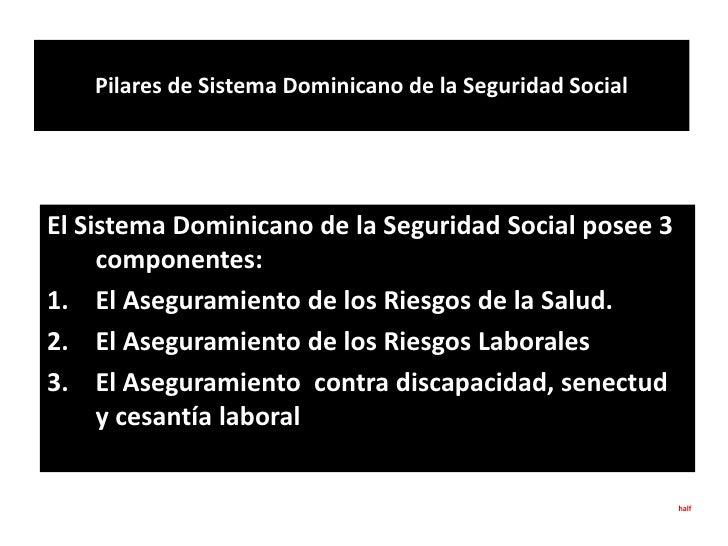 Pilares de Sistema Dominicano de la Seguridad Social<br />El Sistema Dominicano de la Seguridad Social posee 3 componentes...