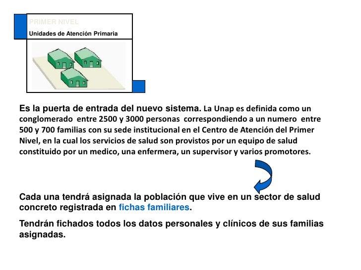 PRIMER NIVEL<br />Unidades de Atención Primaria<br />Es la puerta de entrada del nuevo sistema.LaUnapes definida como un c...
