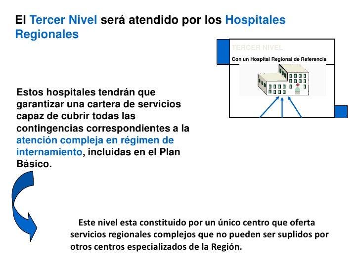 TERCER NIVEL<br />Con un Hospital Regional de Referencia<br />El Tercer Nivel será atendido por los Hospitales Regionales<...