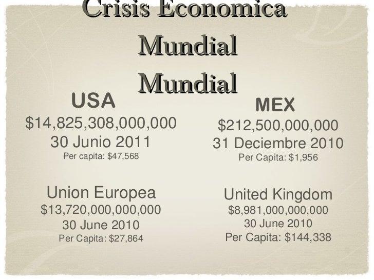 Crisis Economica  Mundial Mundial USA  $14,825,308,000,000 30 Junio 2011 Per capita: $47,568 MEX   $212,500,000,000 31 Dec...