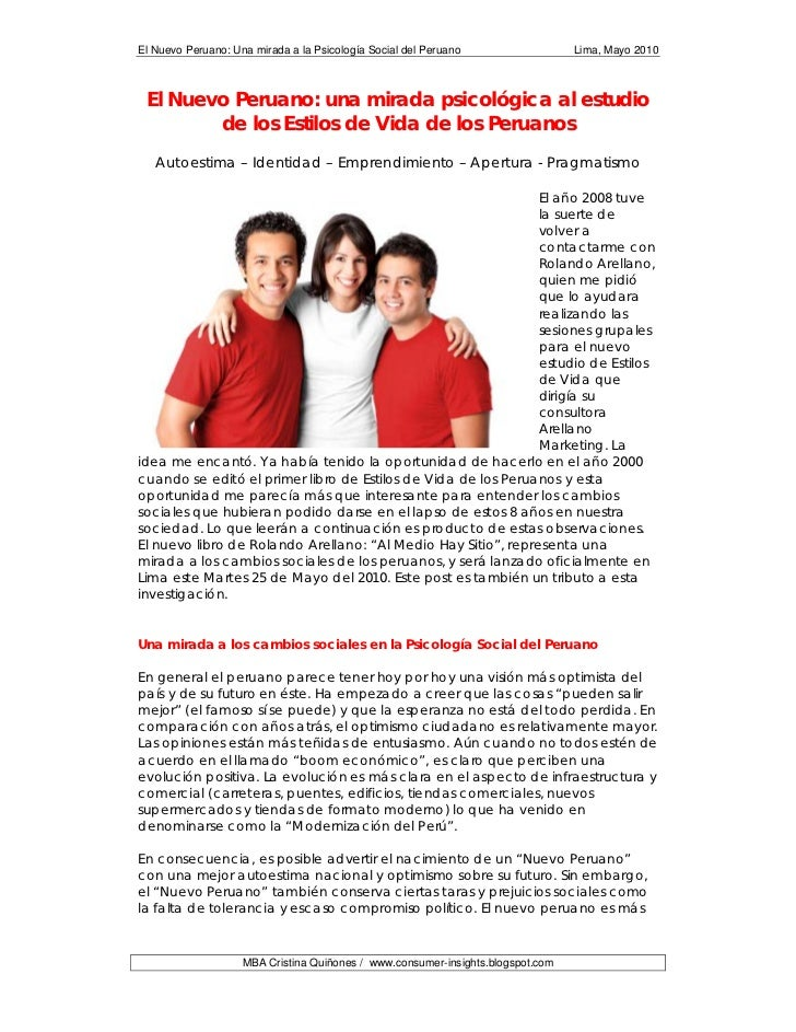 El Nuevo Peruano: Una mirada a la Psicología Social del Peruano                  Lima, Mayo 2010 El Nuevo Peruano: una mir...