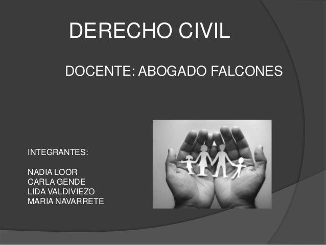 DERECHO CIVIL       DOCENTE: ABOGADO FALCONESINTEGRANTES:NADIA LOORCARLA GENDELIDA VALDIVIEZOMARIA NAVARRETE
