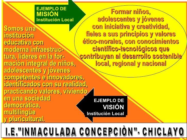 EJEMPLO DE             MISIÓN                           Formar niños,              Institución Local          adolescentes...