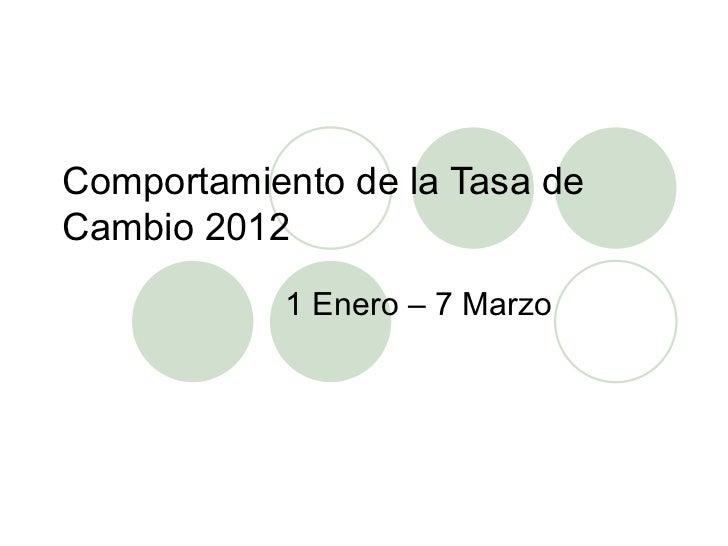 Comportamiento de la Tasa deCambio 2012           1 Enero – 7 Marzo