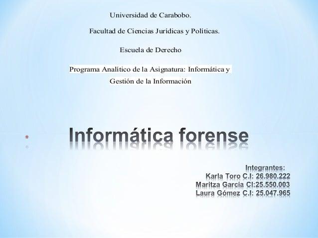 Universidad de Carabobo. Facultad de Ciencias Jurídicas y Políticas. Escuela de Derecho Programa Analítico de la Asignatur...