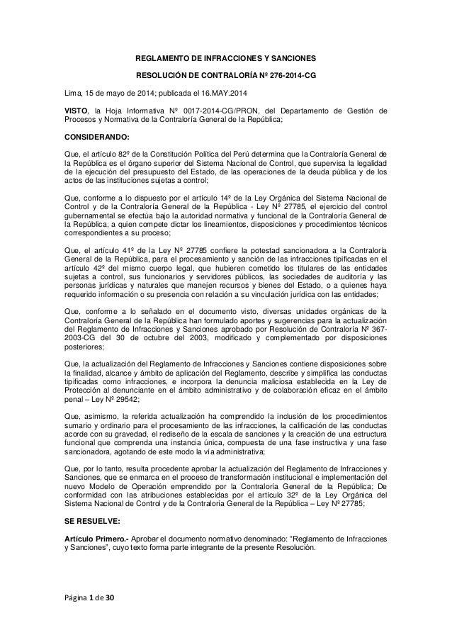 Página 1 de 30 REGLAMENTO DE INFRACCIONES Y SANCIONES RESOLUCIÓN DE CONTRALORÍA Nº 276-2014-CG Lima, 15 de mayo de 2014; p...