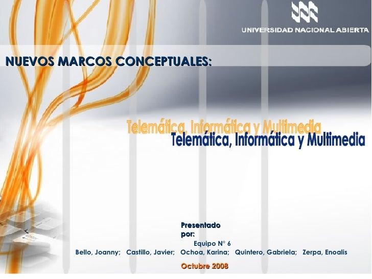 NUEVOS MARCOS CONCEPTUALES: Presentado por: Equipo N° 6 Bello, Joanny;  Castillo, Javier;  Ochoa, Karina;  Quintero, Gabri...