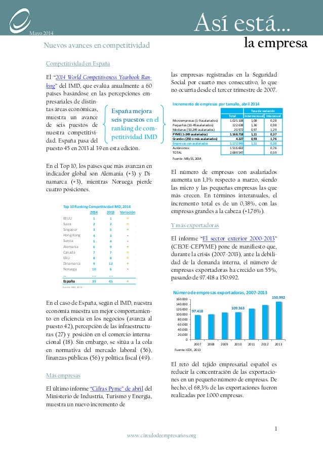 """Competitividad en España El """"2014 World Competitiveness Yearbook Ran- king"""" del IMD, que evalúa anualmente a 60 países bas..."""