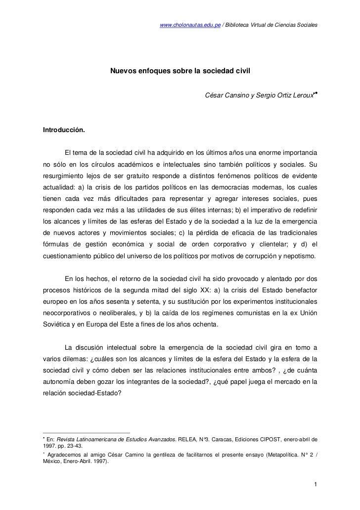 www.cholonautas.edu.pe / Biblioteca Virtual de Ciencias Sociales                         Nuevos enfoques sobre la sociedad...
