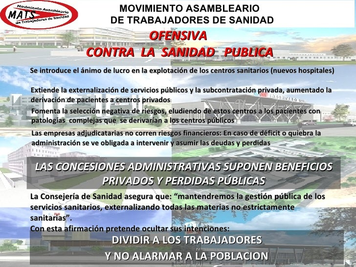 OFENSIVA CONTRA  LA  SANIDAD  PUBLICA Se introduce el ánimo de lucro en la explotación de los centros sanitarios (nuevos h...