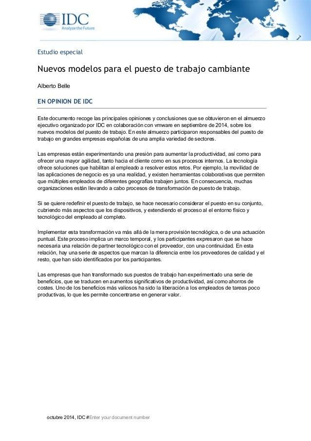 octubre 2014, IDC #Enter your document number Estudio especial Nuevos modelos para el puesto de trabajo cambiante Alberto ...