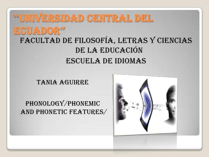 """""""UNIVERSIDAD CENTRAL DELECUADOR"""" facultad de filosofía, letras y ciencias             de la educación           ESCUELA DE..."""