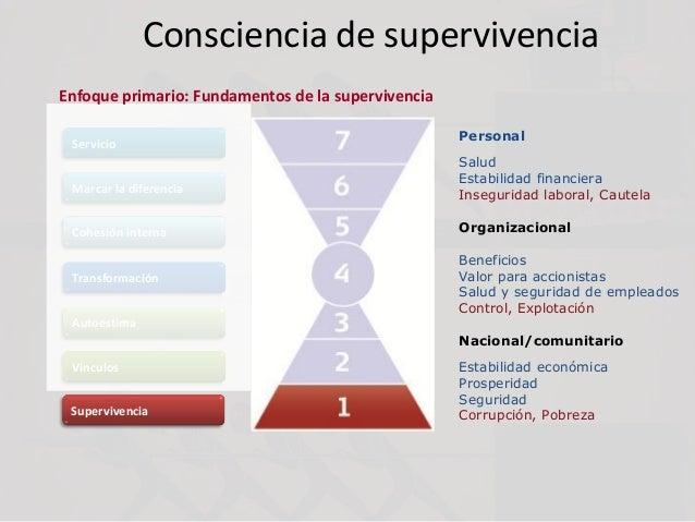 Consciencia de supervivencia Servicio Marcar la diferencia Cohesión interna Transformación Autoestima Vínculos Supervivenc...