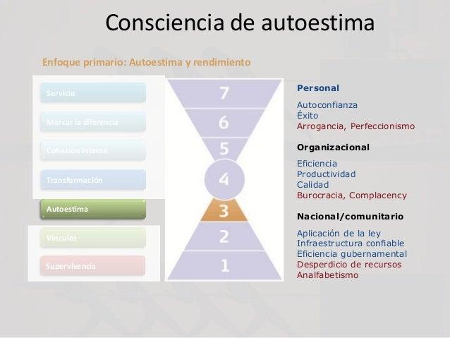 Consciencia de autoestima Servicio Marcar la diferencia Cohesión interna Transformación Autoestima Vínculos Supervivencia ...