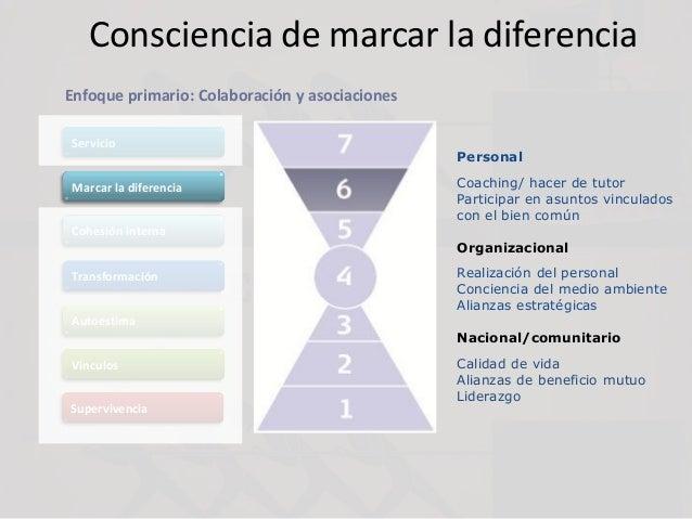 Consciencia de marcar la diferencia Servicio Marcar la diferencia Cohesión interna Transformación Autoestima Vínculos Supe...