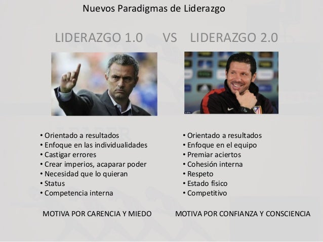 Nuevos Paradigmas de Liderazgo LIDERAZGO 1.0 VS LIDERAZGO 2.0 • Orientado a resultados • Enfoque en las individualidades •...